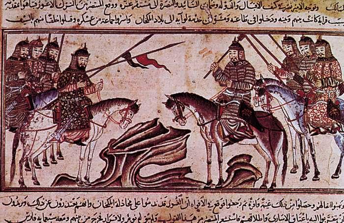 الوصف: المغول المحاربين في المعركة (بواسطة فنان غير معروف ، المجال العام)